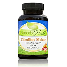 Citrulline Malate | 500mg | 100 Capsules | Workout Supplement | Raise NO2 and Arginine Levels