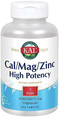 KAL Cal/Mag/Zinc Tablets, 1000/400/15 mg, 250 Count