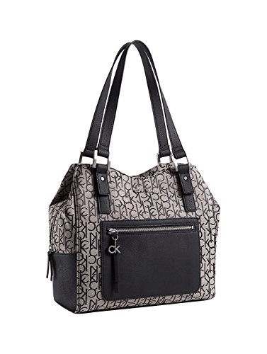 Calvin Klein Nadina Center Zip Hobo Bag Handbag (Granite) - Jacquard Hobo Style Bag