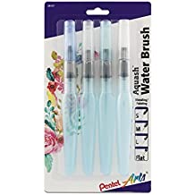 Pentel Arts Aquash Water Brush Assorted Tips, 4 Pack Carded (FRHBP4M)