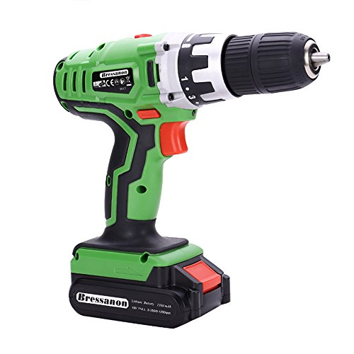 Bressanon 18V Quick Charge Li-ion Double Speed Cordless Drill