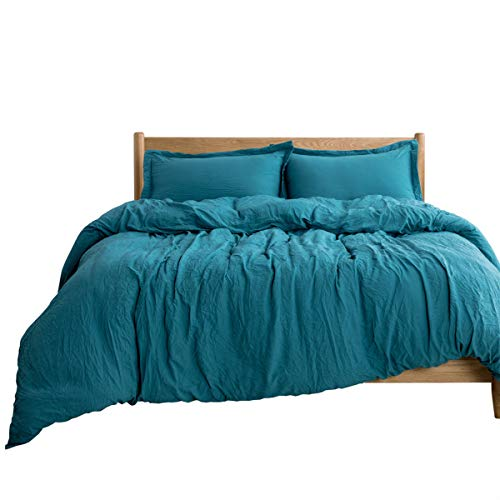 "Bedsure Washed Duvet Cover Set King Size with Zipper Closure Teal, Ultra Soft Hypoallergenic Comforter Cover Sets 3 Pieces (1 Duvet Cover + 2 Pillow Shams), 104""x90"""