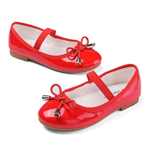 STELLE Girls Bow-Knot String Mary Jane Shoes Slip-on Party Dress Flat for Girls (Red, 9MT) ()