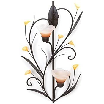 koehler amber lilies candle wall sconce