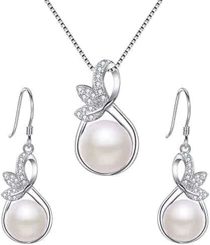 3ff8b2d5a EleQueen 925 Sterling Silver CZ Cream Freshwater Cultured Pearl Leaf Bridal  Necklace Hook Earrings Set Clear