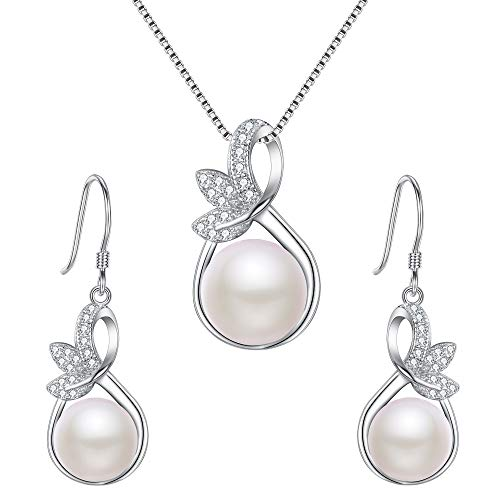EleQueen 925 Sterling Silver CZ Cream Freshwater Cultured Pearl Leaf Bridal Necklace Hook Earrings Set -