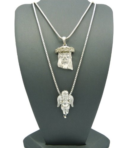 2 Piece Jesus Angel Micro Pendant Necklace Set with Box Chain Necklaces RC186R, Silver-Tone