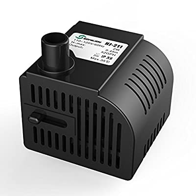 SONGJOY Upgraded 52 GPH Submersible Water Pump Aquarium Fish Tank Fountain Pump Hydroponics with 4.9ft (1.5M) Power Cord