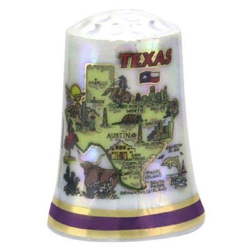 Texas State Map Pearl Souvenir Collectible Thimble agc