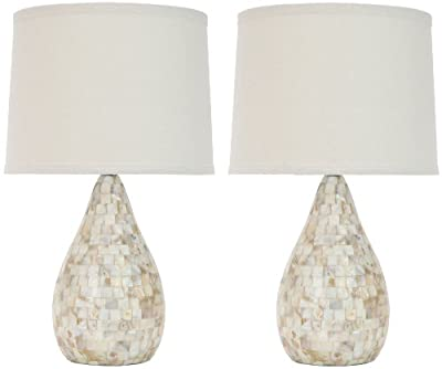 Safavieh Set of 2 Amanda 1-Light Mother-of-Pearl Inlay Table Lamps