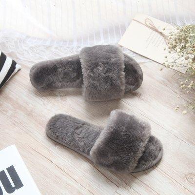 Fankou in autunno e inverno pantofole home cotone pantofole pavimento coperto trascinare e calorosa parola ,37-38, grigio chiaro