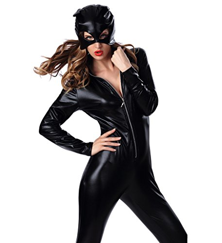 Blugibedramsh Women's Halloween Catwoman Costume Feline Catsuit Costume XL Size (Catwoman From The Dark Knight Rises)