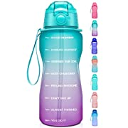 #LightningDeal Giotto Large Half Gallon/64oz Motivational Water Bottle with Time Marker & Straw,Leakproof Tritan BPA Free Water Jug,Ensure You Drink Enough Water Daily for Fitness,Gym and Outdoor
