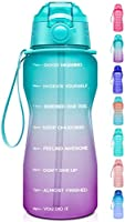 Giotto Large Half Gallon/64oz Motivational Water Bottle with Time Marker & Straw,Leakproof Tritan BPA Free Water...
