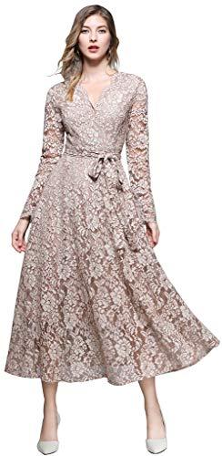 Ababalaya Women's Elegant Faux Wrap Long Sleeve Full Lace Maxi Runway Evening Dress Belted,3509Khaki,Tag M = US Size -