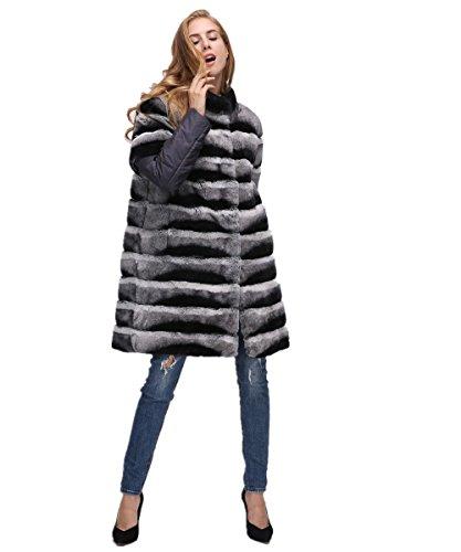 LVCOMEFF Lady Rex Rabbit Fur Chinchilla Coat Detachable Down Sleeve Fur Vest Plus Size1708148 (XL(Coat Bust 108 cm))