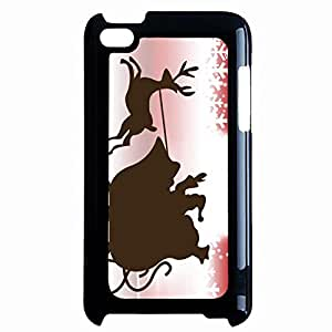 Silhouette Design Merry Christmas Phone Case Hard Plastic Back Case Cover For Ipod Touch 4th,Merry Christmas---Black