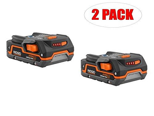 Pack Twin 18v - Ridgid Genuine OEM AC840085 Twin Pack of 1.5 Amp Hour 18V Compact Lithium Ion Power Tool Battery with Onboard Fuel Gauge and Flat Standing Base (2 Batteries)