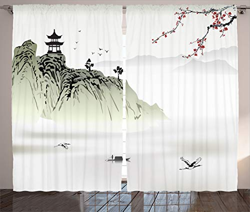 - Ambesonne Asian Decor Collection, Chinese Landscape Painting with the Temple on the Cliff and Flying Gulls over the Clouds, Living Room Bedroom Curtain 2 Panels Set, 108 X 84 Inches, White Green