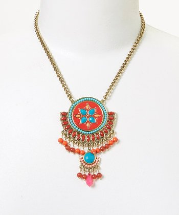 [Lux Accessories Coral & Synthetic Turquoise Deluxe Pendant Necklace] (Blue Turquoise Red Coral Necklace)