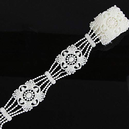(2 Yds Off White Appliques Trimming Polyester Net Lace Trim Ribbon Sewing Crafts (Pattern - #6))
