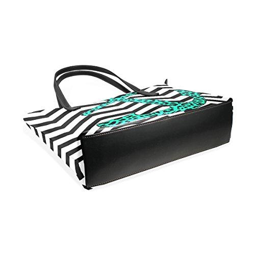 Coosun Leopardanchor Coral Chevron mit PU-Leder Umhängetasche Handtasche und Handtaschen Tasche für Frauen