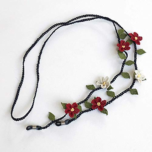 Handmade Needle Lace Red Flower Shape Glasses Chain, Eyeglass Strap ()