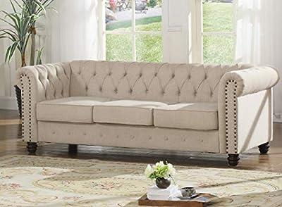 Best Master Furniture YS001 Venice 2 Piece Upholstered Sofa Set Beige