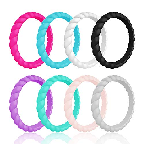 YOTECH Silicone Wedding Ring for Women Thin Stackable Braided Rubber Wedding Ring Bands Comfortable Hypoallergenic Medical Grade Silicone Rings Perfect for Active Woman (8 Colors)