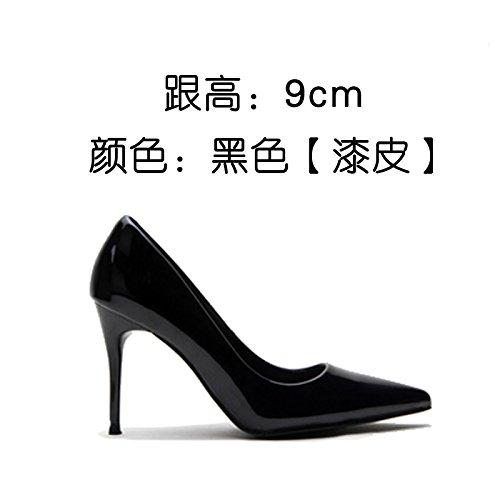 dama y con zapatos de Zapatos a boca señaló elegante tacones cuero de La zapatos superficial FLYRCX una el verano sexy primavera patente xwEvO8BCq