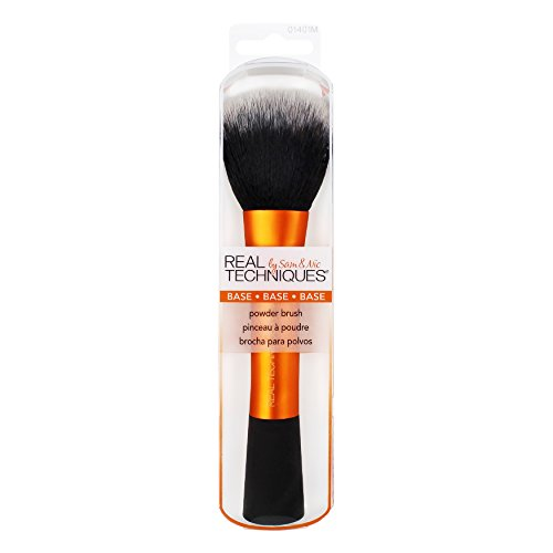 Real Techniques Cruelty Free Powder Brush With Ultra Plush Hand Cut Custom Cut Synthetic Taklon Bristles and Extended Aluminum Ferrules to Build Smooth Even Coverage