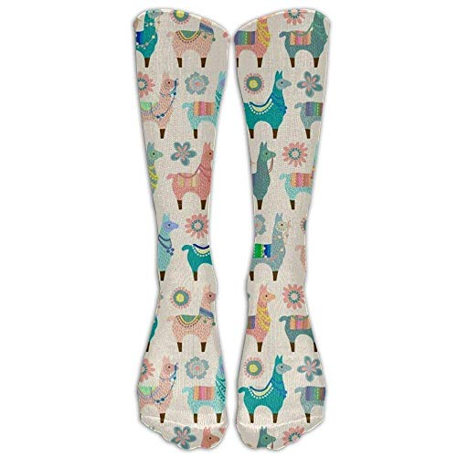 Colorful Paw Prints Knee High Long Socks Athletic Sports Tube Stockings for Running Football Soccer Colorful Llama Fun