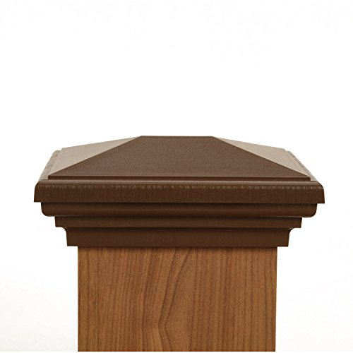 4x6 Post Cap | Brown New England Pyramid Style Square Top for Outdoor Fences, Mailboxes & Decks, by Atlanta Post Caps