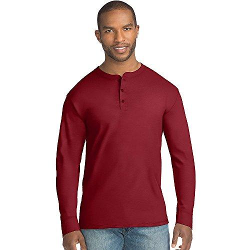 Hanes Mens X-Temp w/Fresh IQ Long Sleeve Henley T-Shirt, XL, Burgundy (Long Sleeve Henley Tee)