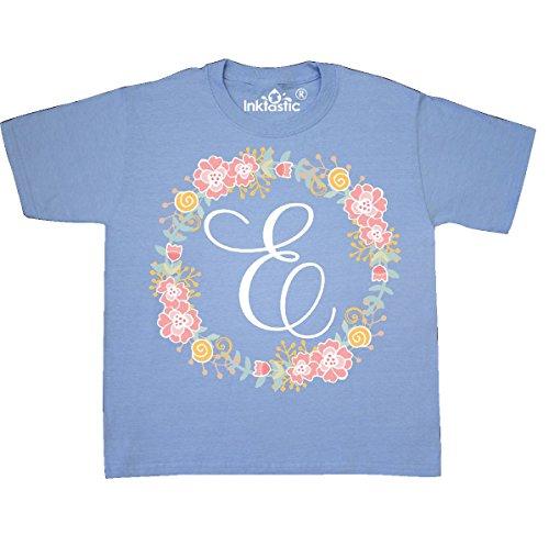 (inktastic - E Monogram Alphabet Youth T-Shirt Youth Small (6-8) Light Blue 309b2)