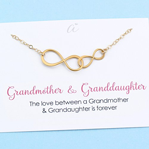 Grandmother & Granddaughter • Double Infinity Necklace • Unique Gift for Grandma • Infinite Love • 14k Gold Filled Chain • Personalized Keepsake Jewelry