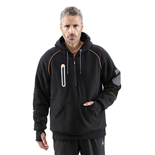 RefrigiWear Men's PolarForce Pullover Sweatshirt - Insulated Hoodie with Performance Flex and Grip Assist (Black, 4XL)