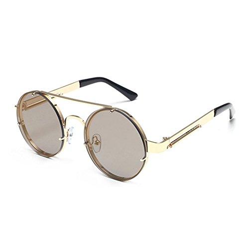 de de Steampunk de Marco redondo colorido sol Oscuro Hellomiko Oro Frame Metal Retro marco Spring gafas Oro Metal gfCtcnHzqw