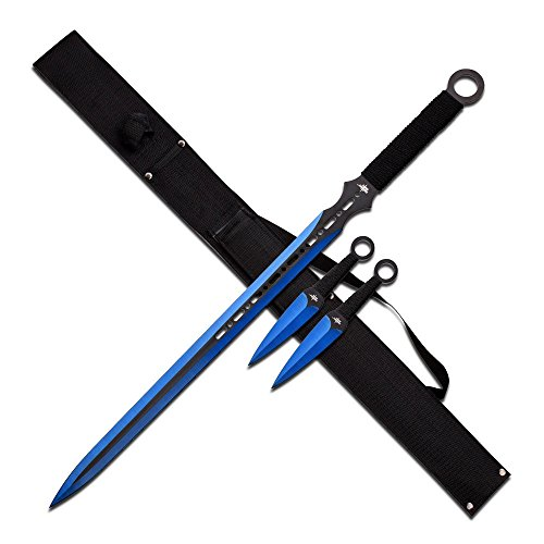 Fantasy Short Sword Combo Blue Set with Throwers