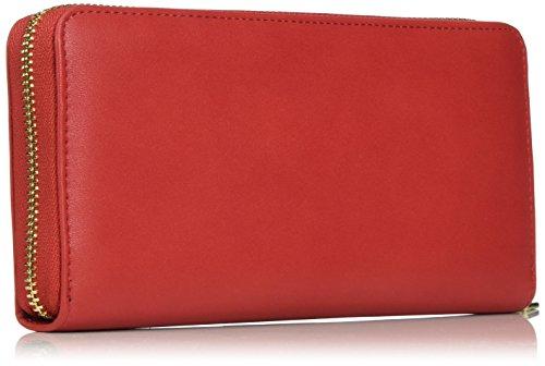 Love Moschino Portafogli Calf Pu Rosso - Pochette da giorno Donna, Rot (Red), 10x21x3 cm (L x H D)