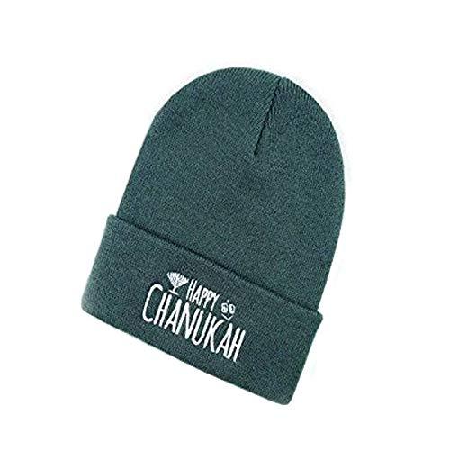 Happy Hanukkah Beanies - Printed Dreidel Menorah on Front Cuff - Stretchable Winter Hats Kids Adults (Gray-1) ()