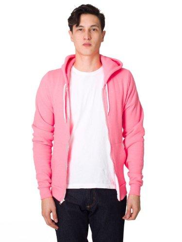 American Apparel mens Unisex Flex Fleece Zip Hoodie(F497)-NEON HTHR PINK-L by American Apparel