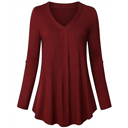 Henleys,Toimoth Womens Fashion Plus Size Solid Long Sleeve V-Neck Pleated T-Shirt Tops Blouse Tunics (XXL, Red A)