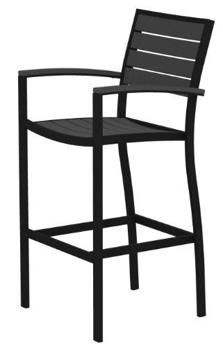POLYWOOD A202FABGY Euro Bar Arm Chair, Textured Black/Slate Grey ()