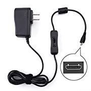 5V 2.5A Power Supply, Wall Charger for Bose SoundLink Mini II, Micro, Revolve Plus, Color Bluetooth Speaker I II, QuietComfort 35, Raspberry Pi 2, Micro USB AC DC Adapter with On Off Switch