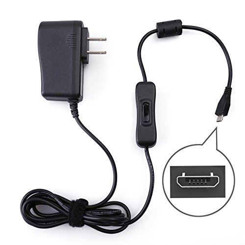 5V 2.5A Power Supply Raspberry Pi 3 B B+, Samsung Galaxy Tablet, Huawei, Honor, LG, Xiaomi, ZTE LotFancy - Micro USB AC DC Charger Adapter On Off Switch