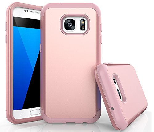 Combo Suit - Galaxy S7 Case, WeLoveCase Heavy Duty High Impact Defense Shield Hard PC Outer Shell with Inner Soft Rubber Hybrid 3 in 1 Combo Full-Body Armor Protective Case for Samsung Galaxy S7 Rose Gold