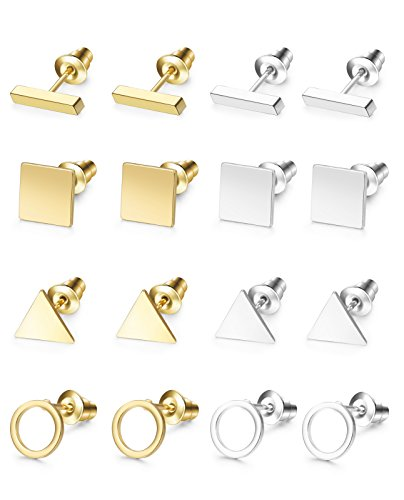 Hanpabum 8 Pairs Simple Geometric Stud Earrings for Women Ear Piercing Jewelry Set Bar Square Triangle Ring - Triangle Geometric