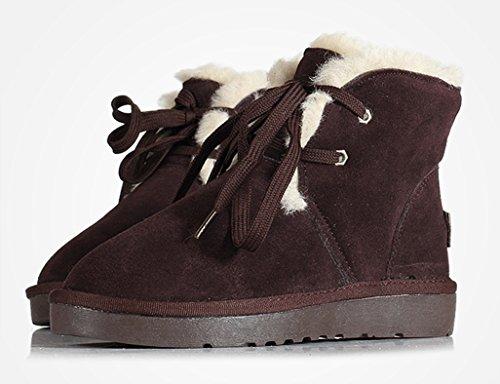 de nieve engrosamiento Maroon algodón cortas Color Tamaño de de Zapatos femeninas Chocolate de Raquetas Botas nieve Botas planas Botas de 38 mujeres invierno Color COxHw6qH5T
