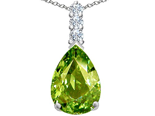 (Star K Large 14x10mm Pear Shape Simulated Peridot and Cubic Zirconia Pendant Necklace Sterling Silver)